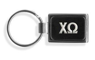 Chi Omega Engraved Chrome Keychains