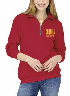 Chi Omega Established Crosswind Quarter Zip Sweatshirt