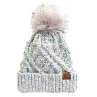 Chi Omega Faux Fur Pom Beanie Hat