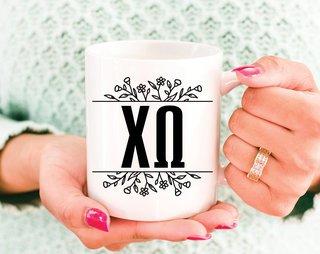 Chi Omega Floral Letters Mug