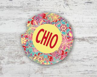 Chi Omega Floral Sandstone Car Cup Holder Coaster