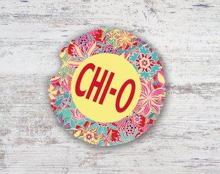 Chi Omega Floral Sandstone Car Cup Holder Coaster