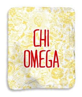 Chi Omega Floral Sherpa Lap Blanket