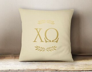 Chi Omega Foil Letters Pillow
