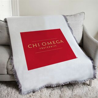 Chi Omega Fraternity Afghan Blanket Throw