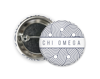 Chi Omega Geo Scroll Button Pin
