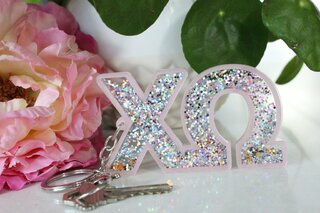 Chi Omega Glitter Keychain