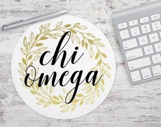Chi Omega Gold Wreath Mousepad