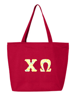 Chi Omega Greek Letter Zipper Tote