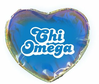 Chi Omega Heart Shaped Makeup Bag