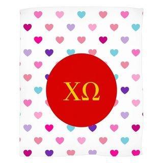 Chi Omega Hearts Fleece Blanket