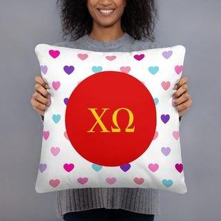 Chi Omega Hearts Pillow