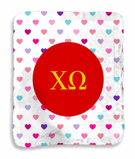 Chi Omega hearts Sherpa Lap Blanket