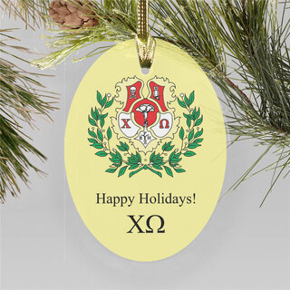 Chi Omega Holiday Color Crest - Shield Ornament