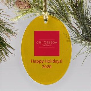 Chi Omega Holiday Color Mascot Christmas Ornament