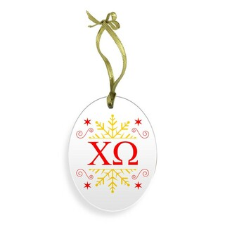 Chi Omega Holiday Color Snowflake Christmas Ornament