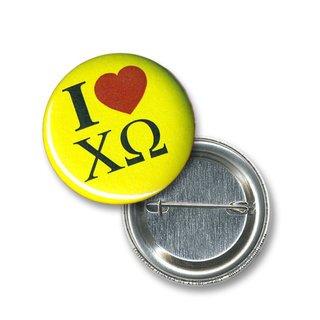 Chi Omega I Love Mini Sorority Buttons