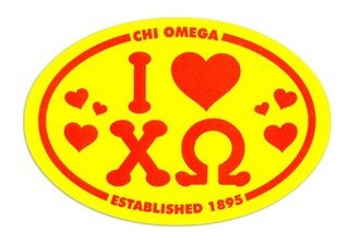 Chi Omega I Love Sorority Sticker - Oval