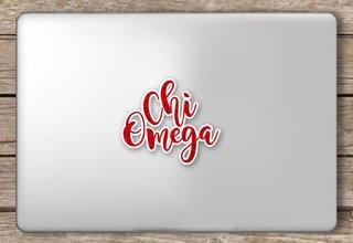 Chi Omega Script Sticker