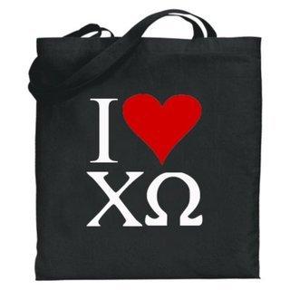 Chi Omega I Love Tote Bags