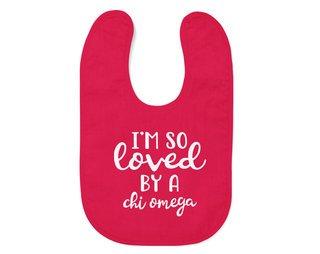 Chi Omega I'm So Loved Baby Bib