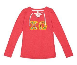 Chi Omega LAT - Sorority Fine Jersey Lace-Up Long Sleeve T-Shirt