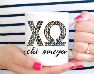 Chi Omega Leopard Mug