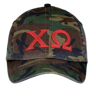 Chi Omega Lettered Camouflage Hat