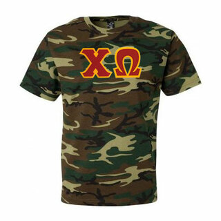 DISCOUNT-Chi Omega Lettered Camouflage T-Shirt