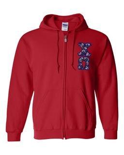 "Chi Omega Lettered Heavy Full-Zip Hooded Sweatshirt (3"" Letters)"