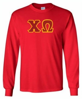 Chi Omega Lettered Long Sleeve Tee- MADE FAST!