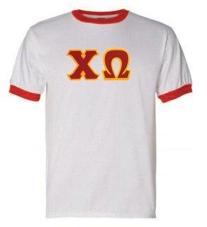 DISCOUNT-Chi Omega Lettered Ringer Shirt