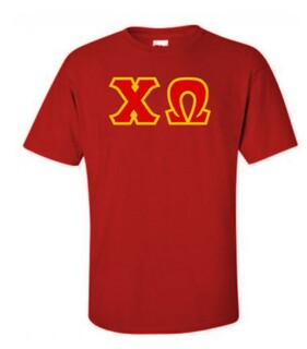 Chi Omega Sewn Lettered Shirts