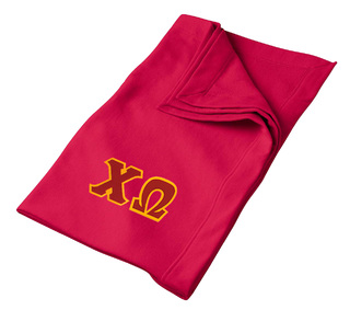 DISCOUNT-Chi Omega Lettered Twill Sweatshirt Blanket