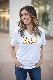 DISCOUNT-Chi Omega Lettered V-Neck Tee