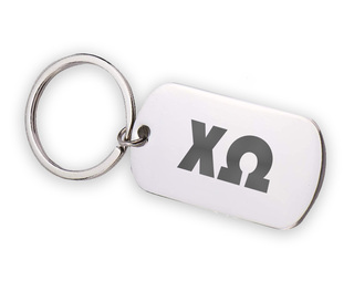 Chi Omega Letters Stainless Keychain