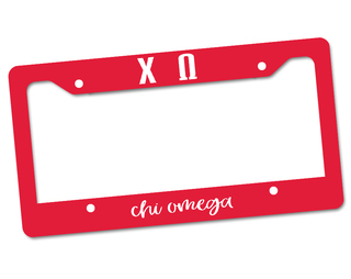 Chi Omega Custom License Plate Frame