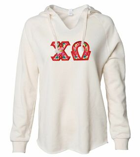 Chi Omega Lightweight California Wavewash Hooded Pullover Sweatshirt