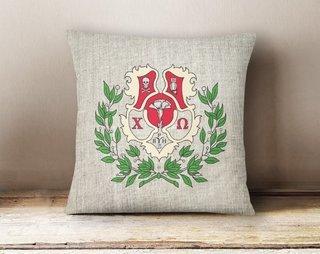 Chi Omega Linen Crest - Shield Pillow