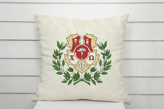 Chi Omega Linen Crest - Shield Pillow