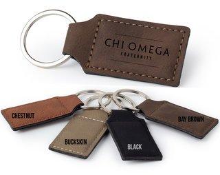 Chi Omega Logo Rectangle Faux Leather Keychain