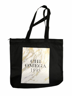 Chi Omega Marble Design Tote Bag - CLOSEOUT