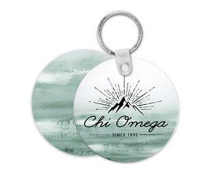 Chi Omega Mountain Key Chain