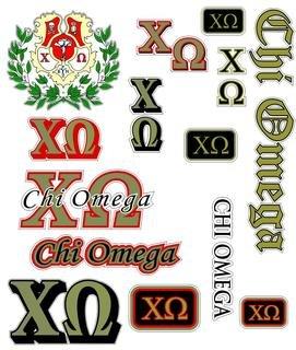 Chi Omega Multi Greek Decal Sheet