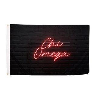 Chi Omega Neon Flag