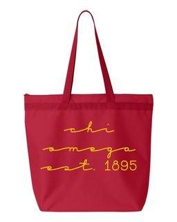 Chi Omega New Script Established Tote Bag