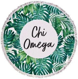 Chi Omega Palm Leaf Fringe Towel Blanket