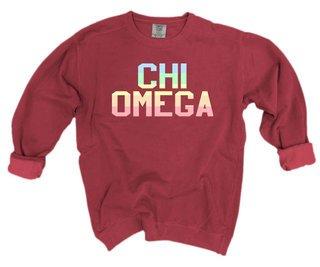 Chi Omega Pastel Rainbow Crew - Comfort Colors