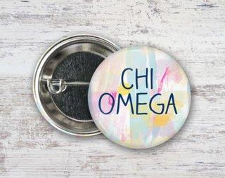 Chi Omega Pastel Strokes Button