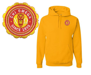Chi Omega Patch Seal Hooded Sweatshirt